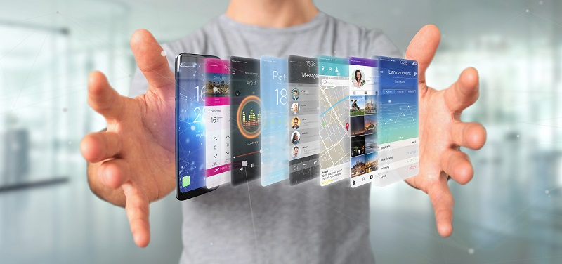 Mobile app developer career. Businessman holding 3d rendering app template on a smartphone