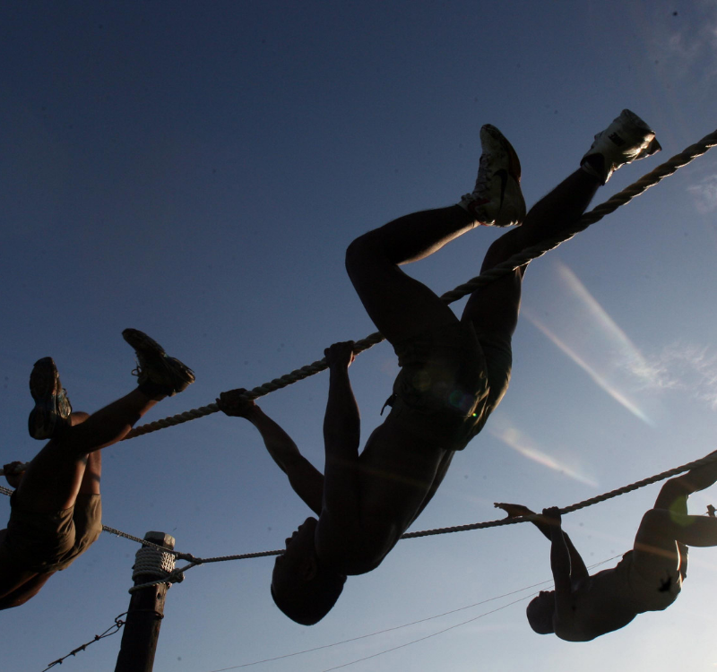 Army Practice Tests. Soldiers training on ropes