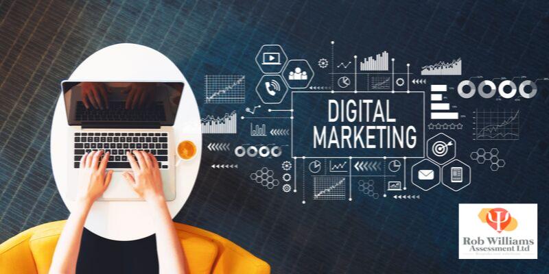 Jobs in Media Studies. Digital marketing. Woman working on laptop.