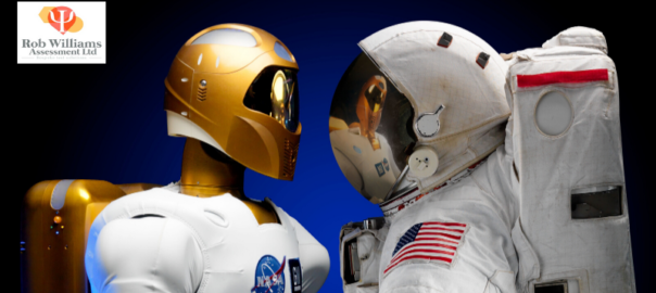 Future STEM jobs. Robot face to face with astronaut.