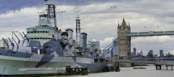Royal Navy Recruitment. Ship in Thames at London Bridge