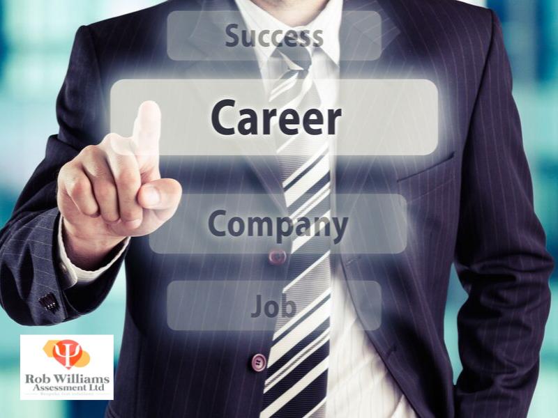 Career Guidance Tests. Virtual screen with man in suit choosing career.