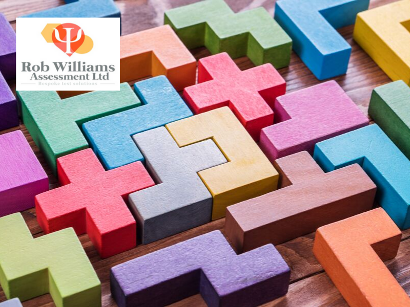 abstract reasoning test strategies. Abstract puzzle with colourful blocks.