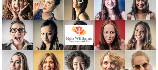 Work personality test design. Faces and different personalities