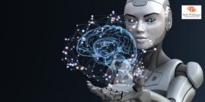 AI or artificial intelligence jobs in design & tech. Image of robot holding virtual brain