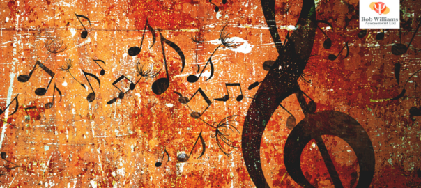 Career Resources for jobs in music. Brown background with treble cleft and music notes