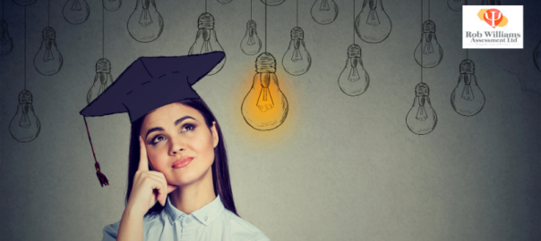 Women with graduate hat and lightbulbs in background contemplating graduate news