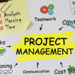 Project manager jobs with Project Management mindmap written on page.