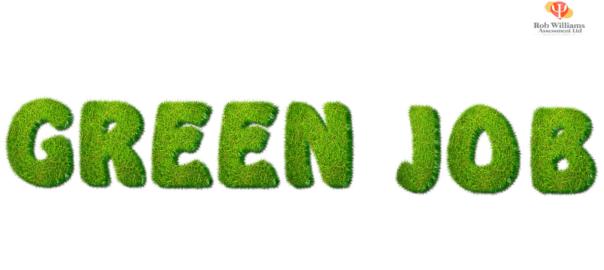 Green Jobs written in grass effect